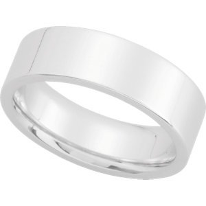 Platinum Flat Comfort Fit Wedding Band: 6mm - Size 8