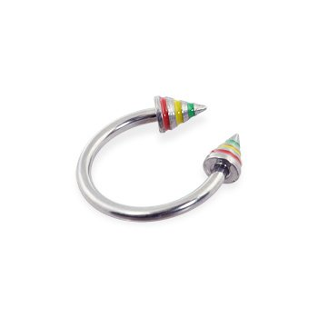 Stainless Steel Circular (Horseshoe) Barbell With Rasta Colored Epoxy Striped Cones, 16 Ga
