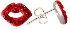 Silver crystal Stud Earrings by GlitZ JewelZ © - cute hot lips design bling bling!! - made with over 40 swarovski crystals - comes packed inside a lovely velvet pouch - Siam Red color