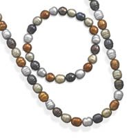 SET: Multicolor Freshwater Pearl Necklace and Bracelet, Sterling Silver