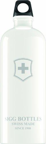 Sigg Swiss Emblem Water Bottle, 1-Liter, White front-764676