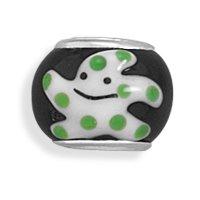Ste. Silver Black White Green Starfish Bead Black Glass Story Bead Charm White Green Smiley Starfish
