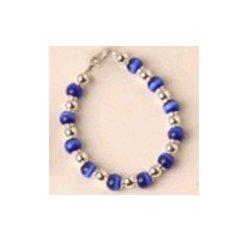 Dark Blue Beaded Bracelet - Size: 6.5 inches