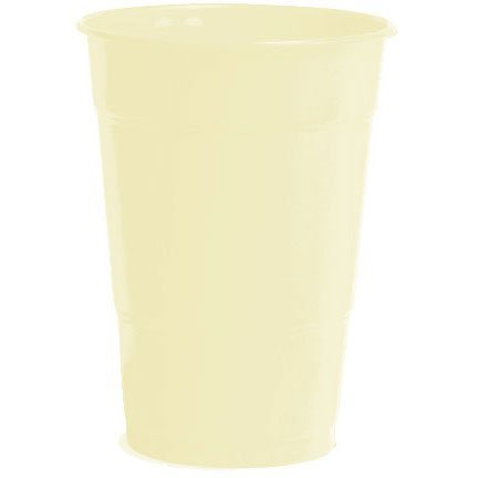 Amscan Big Party Pack 50 Count Plastic Cups, 16-Ounce, Vanilla Crème