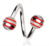 Red Striped Balls 316L Surgical Steel Twist Spiral Belly Bar Navel Ring Body Bar