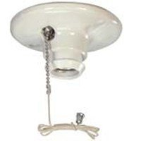 Cooper Wiring Devices 659-SP 660-Watt 250-volt Medium Base Ceiling Receptacle Lamp Holder with Pull Chain, Porcelain, White Color