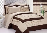 3pc Taupe / Brown High Quality Fully Quilted Embroidery Bedspread Bed