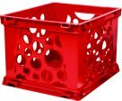 Storex Mini Stackable Storage Crate - Red