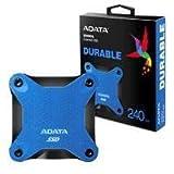 ADATA SD600Q 240GB 3D NAND USB3.2 Ultra-Speed External Solid State Drive Read up to 440 MB/s Blue (ASD600Q-240GU31-CBL) (Color: Blue, Tamaño: 240GB)