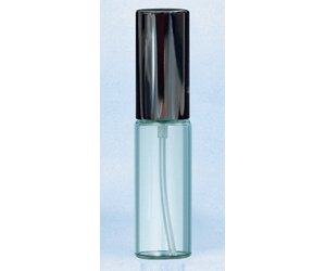ヤマダアトマイザー グラスアトマイザー プラスチックポンプ 無地 7207 クリアビン10cc アルミキャップ ブラック 10ml