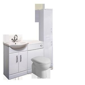Bathroombarry Complete Bathroom Furniture Set Vanity Unit Wc Unit Cupboard And 1400Mm (No Tap)