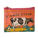 "Blue Q Coin Purses Cash Cow 4"" x 3"" 95% Post Consumer Recycled Material (a)"