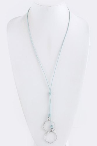 Karmas Canvas Crystal Lined Hoop Necklace (Baby Blue) front-1047393