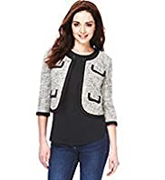Petite Cotton Rich Tipped & Textured Tailored Jacket