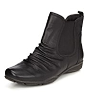 Footglove™ Leather Ruched Chelsea Boots