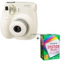 Fujifilm Instax Mini 7S Instant Film Camera Kit, (White) with Fujifilm Instax Mini Instant Daylight Film, Twin Pack, 20 Exposures, ISO 800.