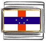 Netherlands Antilles Flag Italian Charm Bracelet Link