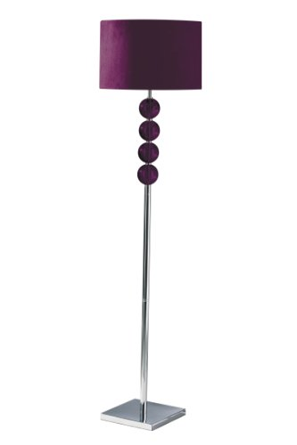 Premier Housewares Mistro Purple Floor Lamp with 4 Glass Balls Chrome Base and Faux Suede Shade
