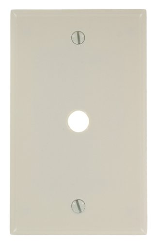 Leviton 78013 1-Gang .406 Inch Hole Device Telephone/Cable Wallplate, Standard Size, Thermoset, Box Mount, Light Almond