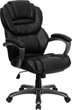 Flash Furniture GO-901-BN-GG High Back Brown Leather Executive Office Chair with Padded Loop Arms