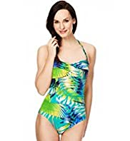 Twisted Front Palm Leaf Print Bandeau Swimsuit