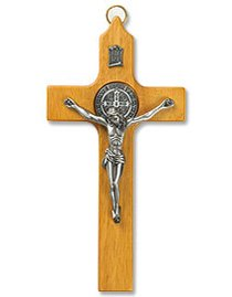 St. Benedict Wall Crucifix with Pewter Corpus