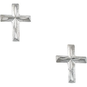 14K Yellow Gold CHILDRENS D/C CROSS EARRING - PAIR 09.00X06.75 MM