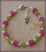 Bethany Sterling Silver Childrens Girls Bracelet Childrens Hot pink and lime green jade accented with silver daisies Size Medium 1-5 Years