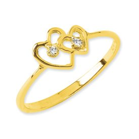 Genuine IceCarats Designer Jewelry Gift 14K Polished Aa Diamond Heart Ring Size 6.00