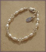 Freshwater Pearls w/Crystal Sterling Silver Infant Baby Christening Bracelet 0-12 months