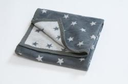 Hippy Chick Grey Stars Baby Blanket (pram size) (Pram size: 75cm x 100cm)