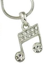 Pretty Austrian Crystal Embellished Silver Musical/Music Note Necklace (style 2)