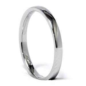 SALE 2MM Plain High Polished 950 Platinum Dome Comfort Fit Wedding Ring Band