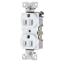 Cooper Wiring 827W-Box 3-Wire Duplex Receptacles, 15 Amp, White front-6859