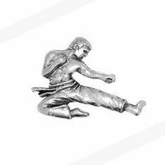 Pewter Karate Pin Badge in Gift Box, Free Engraving