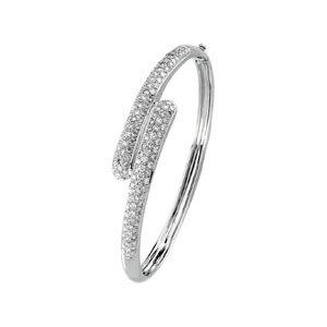 14k White Gold Rough Diamond Bangle Bracelet 3ct - JewelryWeb