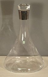 SILVER RIMMED GLASS WINE DECANTER