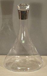 SILVER RIMMED GLASS WINE DECANTER