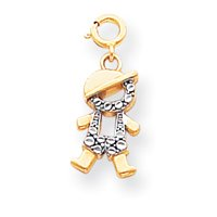 14k and Rhodium Boy Charm - Measures 20.3x8.7mm - JewelryWeb