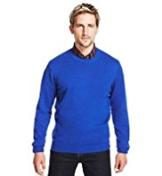 2in Longer Blue Harbour Pure Cotton Crew Neck Jumper