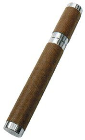 Leather Wrapped Single Stainless Steel Cigar Tube Brown