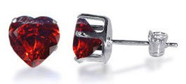 TDEZ2190-GG Nickel Free Sterling Silver 5mm Heart Garnet Cubic Zirconia Post Back Stud Earrings