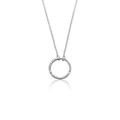 Simply Nice Sterling 925 Silver Thin Cable Chain Necklace with Open Circle Hammered Finish Pendant(WoW !With Purchase Over $50 Receive A Marcrame Bracelet Free)