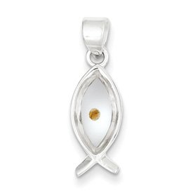 Genuine IceCarats Designer Jewelry Gift Sterling Silver Enameled With Mustard Seed Ithicus Fish Pendant