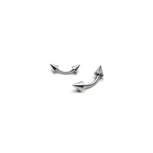 Urban Body Jewellery 1.2mm Surgical Stainless Steel Curved Spiked Barbell 10mm