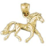CleverEve 14K Yellow Gold Pendant 3-D Mustang 3.5 Grams