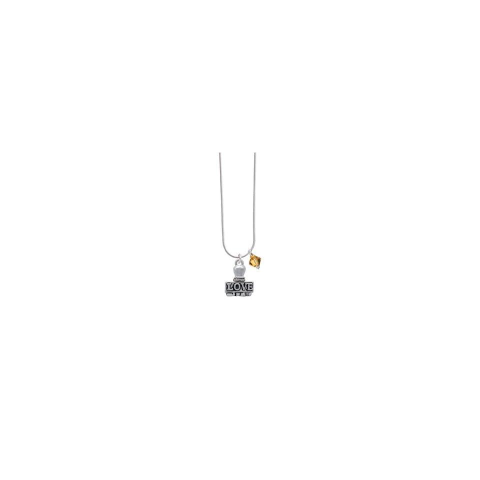 LOVE Stamp Topaz Swarovski Bicone Charm Necklace [Jewelry] Jewelry