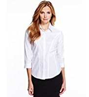 M&S Collection No Peep™ Dobby Concealed Fastening Corset Shirt