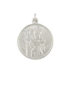 Unique Wishlist Sterling Silver Small Round St.Christopher - Pendant Only