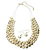 M&S Collection Gold Plated Slinky Circles Necklace & Earrings Set